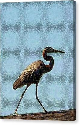 Canvas Print featuring the photograph Metal Heron by Ellen O'Reilly