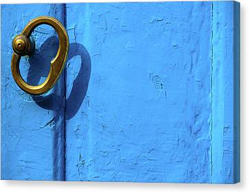 Metal Knob Blue Door Canvas Print by Prakash Ghai