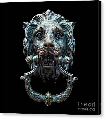 Canvas Print featuring the photograph Metal Lion Head Doorknocker Isolated Black by Antony McAulay