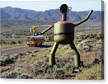 Metal Man And School Bus Canvas Print by Day Williams