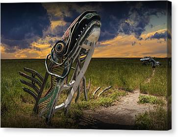 Metal Monster Emerging From The Earth Canvas Print