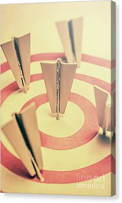 Metal Paper Planes In Target, Business Aims Canvas Print by Jorgo Photography - Wall Art Gallery
