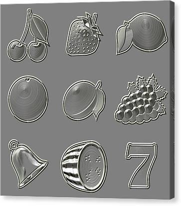 Metal Relief Slot Machine Fruit Symbols Canvas Print by Miroslav Nemecek
