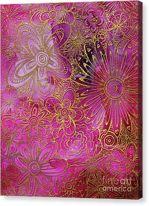 Metallic Gold And Pink Floral Pattern Design Golden Explosion By Megan Duncanson Canvas Print