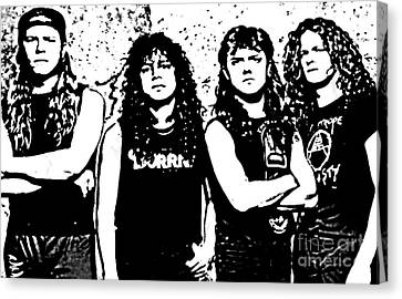 Metallica Poster In Ink Canvas Print by John Malone