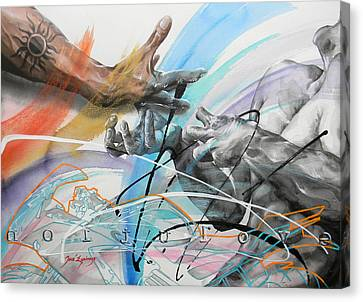 Canvas Print featuring the painting Metamorphosis by J- J- Espinoza