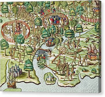 Methods Of Sieging And Attacking Canvas Print by Theodore de Bry