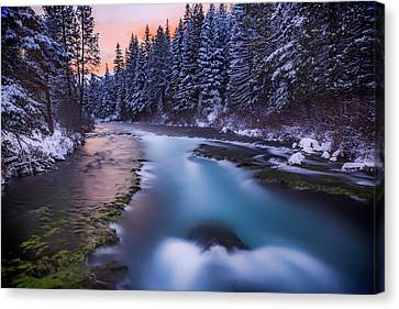 Canvas Print featuring the photograph Metolius Sunset by Cat Connor