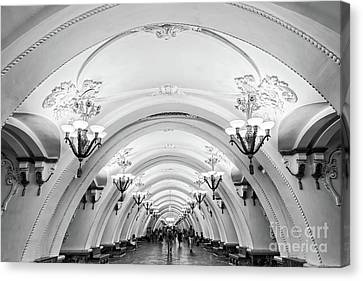 Canvas Print featuring the photograph Metro Arbatskaya by Delphimages Photo Creations