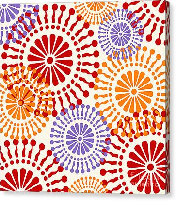 Metro Retro Circle Pattern Warm Canvas Print by Mindy Sommers