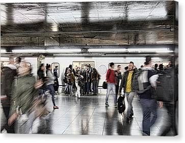 Canvas Print featuring the photograph Metro Rush by Kim Wilson