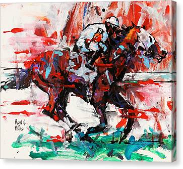 Sprinter Canvas Print - Metro Wins Again  by Ron and Metro