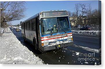 Metrobus On Road After Major Snowstorm Canvas Print by Ben Schumin