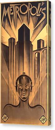 Canvas Print featuring the digital art Metropolis Poster by Chuck Staley