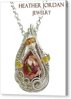 Mexican Cantera Opal Pendant In Sterling Silver With Ethiopian Welo Opals Cmfoss2 Canvas Print by Heather Jordan