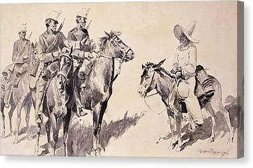 Mexican Gendarmes Asking The Way Canvas Print by Frederic Remington