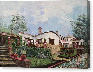 Mexican Hacienda After The Rain Canvas Print by Judith Espinoza