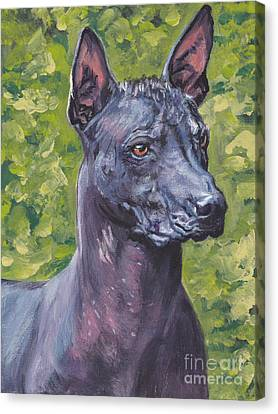 Canvas Print featuring the painting Mexican Hairless Dog Standard Xolo by Lee Ann Shepard