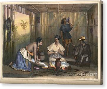 Mexican Women Grinding Corn And Making Tortillas In Mexico Canvas Print by Celestial Images