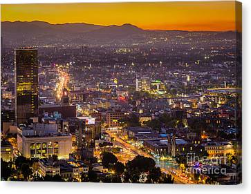 Twilight Views Canvas Print - Mexico City Sunset by Inge Johnsson