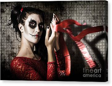 Mexico Sugar Skull Girl Performing Death Dance Canvas Print by Jorgo Photography - Wall Art Gallery