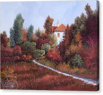 Warm Canvas Print - Mezza Bicicletta Nel Bosco by Guido Borelli