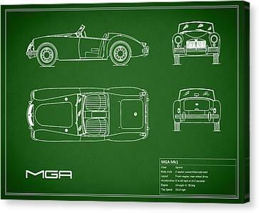 Mga Mk1 Blueprint - Green Canvas Print by Mark Rogan