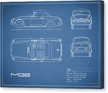 Mgb Blueprint Canvas Print by Mark Rogan
