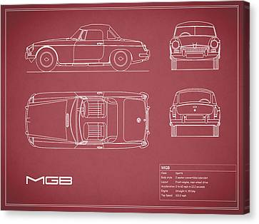 Mgb Blueprint - Red Canvas Print by Mark Rogan