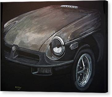 Canvas Print featuring the painting Mgb Rubber Bumper Front by Richard Le Page