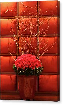 Mgm Red Rose Display Canvas Print by Linda Phelps