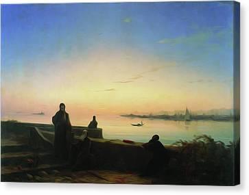 St Lazarus Canvas Print - Mhitarists On Island Of St Lazarus 1843 by Aivazovsky Ivan