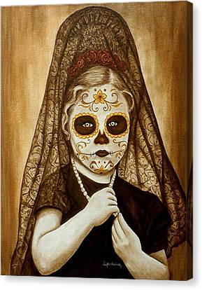 Canvas Print featuring the painting Mi Hermosa Flor by Al  Molina