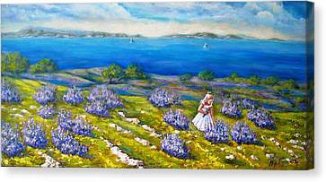 Mia On The Lavenders Field Canvas Print