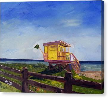 Miami Beach Lifeguard 46 St. Canvas Print by Maria Soto Robbins