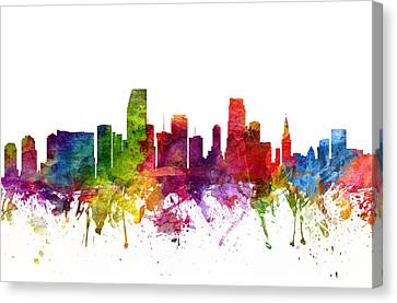 Skyline Canvas Print - Miami Cityscape 06 by Aged Pixel