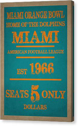 Miami Dolphins Sign Canvas Print by Joe Hamilton
