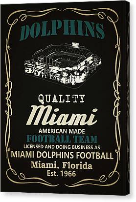 Dolphin Canvas Print - Miami Dolphins Whiskey by Joe Hamilton