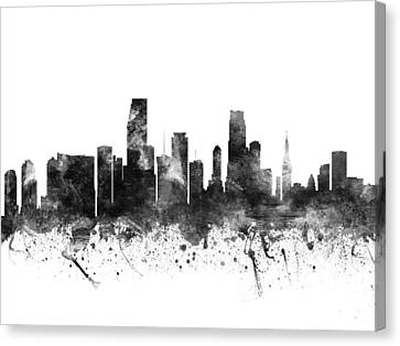 Miami Florida Cityscape 02bw Canvas Print by Aged Pixel