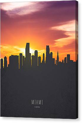 Miami Florida Sunset Skyline 01 Canvas Print by Aged Pixel