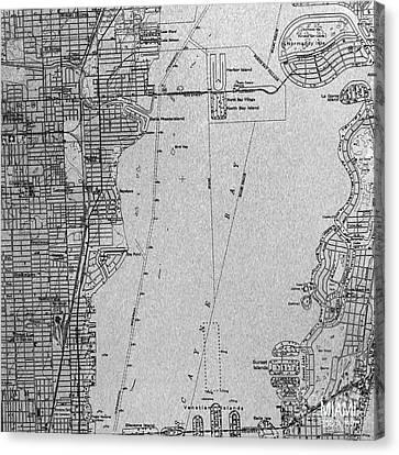 Miami Florida Year 1950 Black And Grey Canvas Print by Pablo Franchi