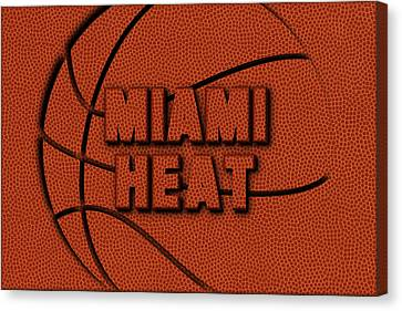 Miami Heat Leather Art Canvas Print