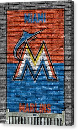 Miami Marlins Brick Wall Canvas Print by Joe Hamilton