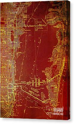 Antique Map Canvas Print - Miami Red Old Vintage Map by Pablo Franchi
