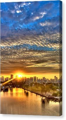 Miami River Sunrise Canvas Print by William Wetmore