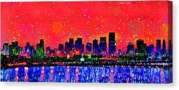 Miami Skyline 10 - Da Canvas Print by Leonardo Digenio