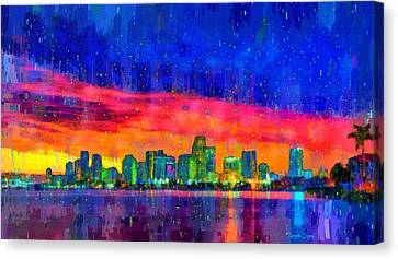 River Canvas Print - Miami Skyline 100 - Da by Leonardo Digenio