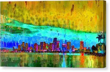 Miami Skyline 101 - Da Canvas Print by Leonardo Digenio