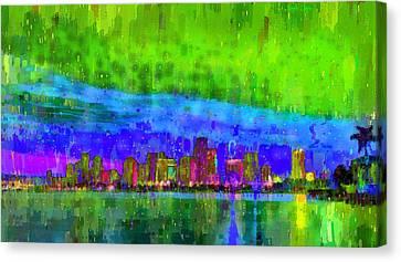 Miami Skyline 102 - Pa Canvas Print by Leonardo Digenio