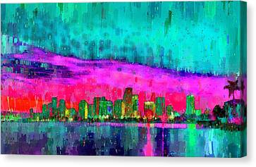Miami Skyline 103 - Da Canvas Print by Leonardo Digenio
